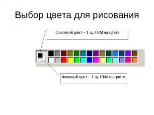 Выбор цвета для рисования Основной цвет – 1 щ. ЛКМ на цвете Фоновый цвет – 1 щ.