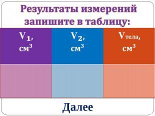 Результаты измеренийзапишите в таблицу: