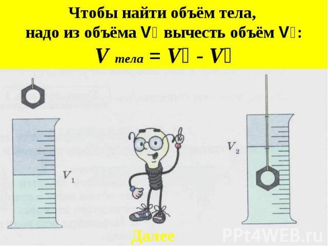 Чтобы найти объём тела, надо из объёма V₂ вычесть объём V₁:V тела = V₂ - V₁