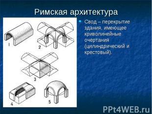 Римская архитектура Свод – перекрытие здания, имеющее криволинейные очертания (ц