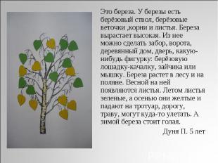 Это береза. У березы есть берёзовый ствол, берёзовые веточки, корни и листья. Бе