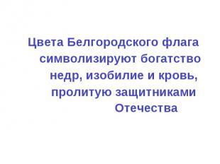 Цвета Белгородского флага символизируют богатство недр, изобилие и кровь, пролит