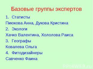 Базовые группы экспертов 1.СтатистыСтатисты Пиюкова Анна, Дукова Кристина 2.Экол