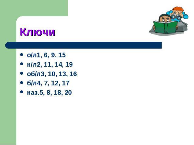 Ключио/л1, 6, 9, 15н/л2, 11, 14, 19об/л3, 10, 13, 16б/л4, 7, 12, 17наз.5, 8, 18, 20