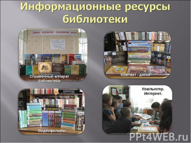 Информационные ресурсы библиотекиСправочный аппарат библиотекиКомпакт - дискиВидеофильмыКомпьютер. Интернет.