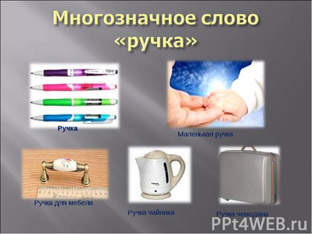 Многозначное слово «ручка» РучкаМаленькая ручкаРучка для мебелиРучка чайникаРучка чемодана