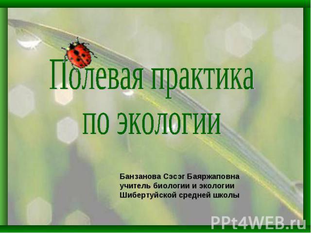Полевая практика по экологииБанзанова Сэсэг Баяржаповнаучитель биологии и экологииШибертуйской средней школы