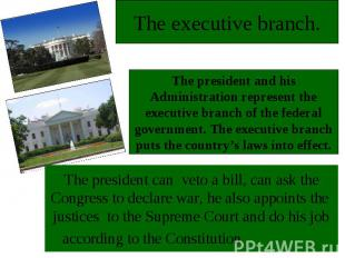 The executive branch.The president and his Administration represent the executiv