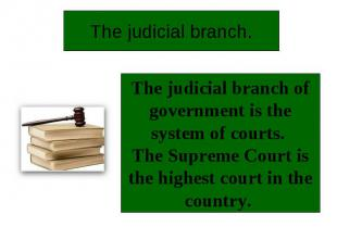 The judicial branch.The judicial branch of government is the system of courts. T