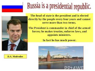The head of state is the president and is elected directly by the people every f