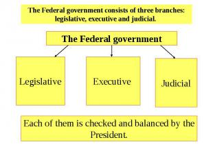 The Federal government consists of three branches: legislative, executive and ju