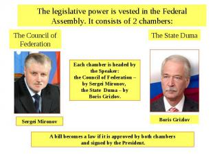 The legislative power is vested in the Federal Assembly. It consists of 2 chambe