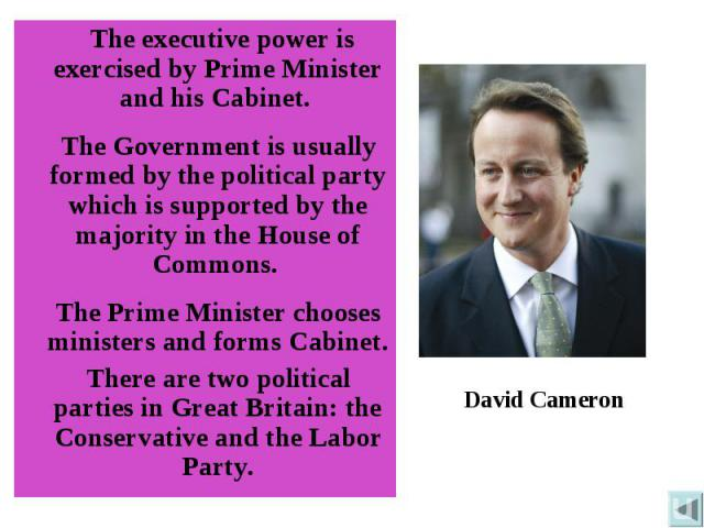 The executive power is exercised by Prime Minister and his Cabinet. The Government is usually formed by the political party which is supported by the majority in the House of Commons. The Prime Minister chooses ministers and forms Cabinet. There are…