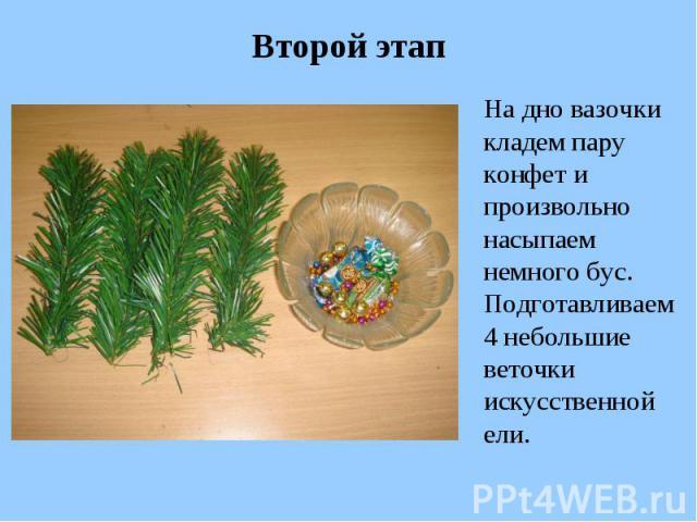 Второй этап На дно вазочки кладем пару конфет и произвольно насыпаем немного бус. Подготавливаем 4 небольшие веточки искусственной ели.