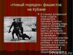 «Новый порядок» фашистов на Кубани В станице Должанской была создана комендатура