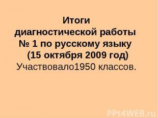 Итоги диагностической работы 1 по русскому языку (15 октября 2009 год) Участвова
