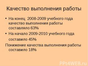Качество выполнения работы На конец 2008-2009 учебного года качество выполнения