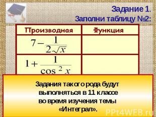 Задание 1.Заполни таблицу №2: Задания такого рода будут выполняться в 11 классев