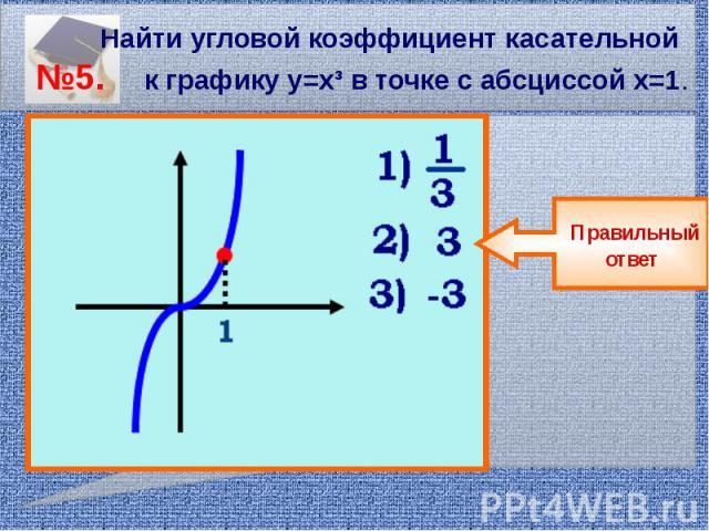Найти угловой коэффициент касательной №5. к графику у=х³ в точке с абсциссой х=1.