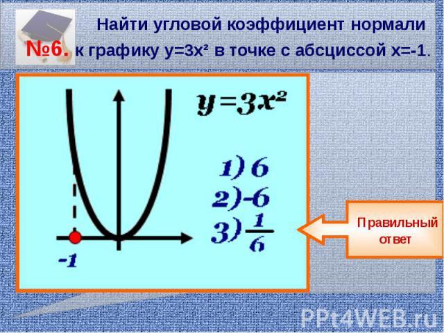 Найти угловой коэффициент нормали №6. к графику у=3х² в точке с абсциссой х=-1.