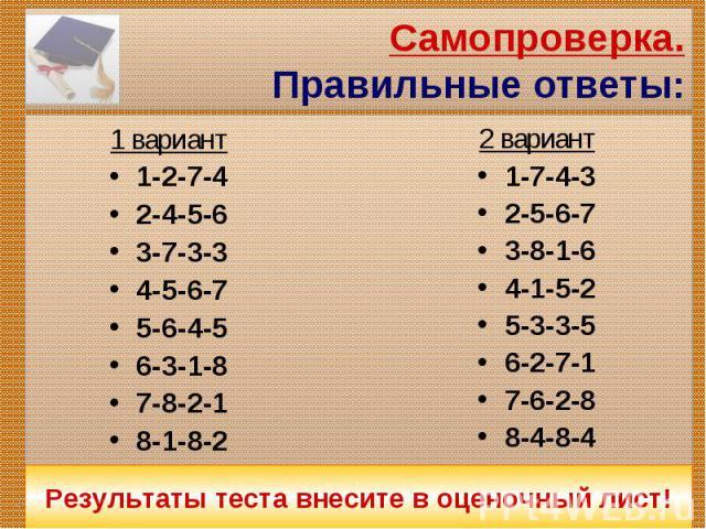 Самопроверка.Правильные ответы:1 вариант1-2-7-42-4-5-63-7-3-34-5-6-75-6-4-56-3-1-87-8-2-18-1-8-2