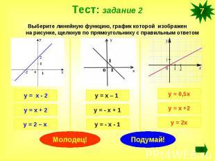 Тест: задание 2Выберите линейную функцию, график которой изображен на рисунке, щ