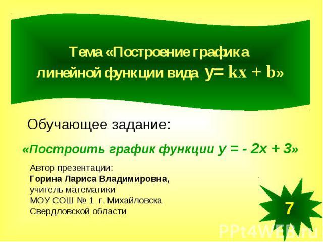 Построение графика линейной функции вида у= kx + b Обучающее задание: «Построить график функции у = - 2х + 3»Автор презентации:Горина Лариса Владимировна,учитель математики МОУ СОШ № 1 г. МихайловскаСвердловской области