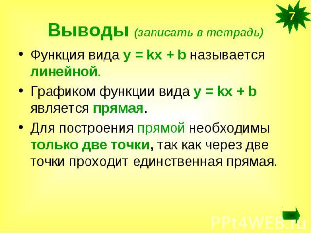 Выводы (записать в тетрадь)Функция вида у = kx + b называется линейной.Графиком функции вида у = kx + b является прямая.Для построения прямой необходимы только две точки, так как через две точки проходит единственная прямая.