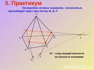 XY – след секущей плоскости на плоскости основания 5. Практикум Постройте сечени