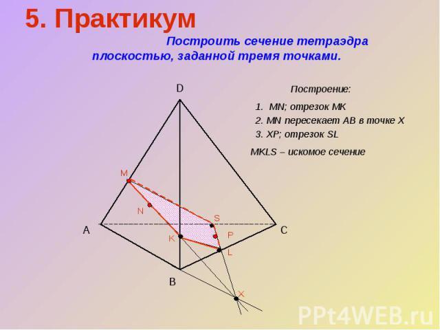 5. Практикум Построить сечение тетраэдра плоскостью, заданной тремя точками.Построение:1. MN; отрезок МК2. MN пересекает АВ в точке Х3. ХР; отрезок SLMKLS – искомое сечение