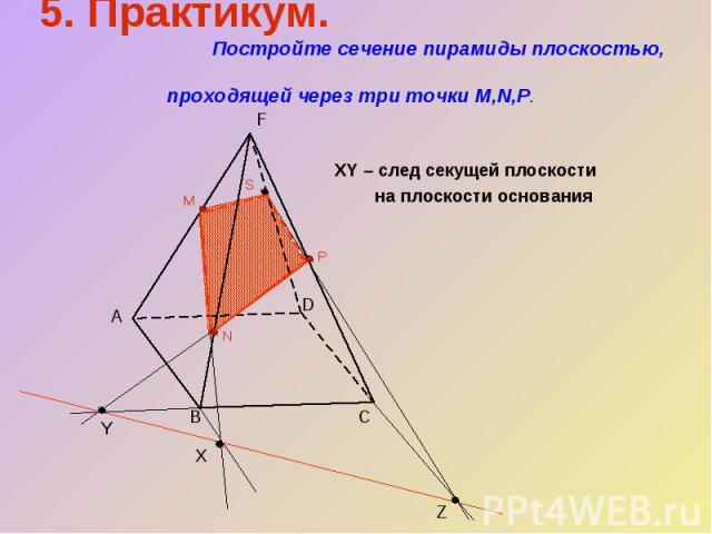 5. Практикум. Постройте сечение пирамиды плоскостью, проходящей через три точки M,N,P.XY – след секущей плоскости на плоскости основания
