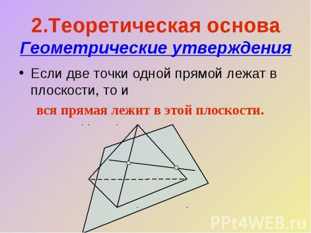 2.Теоретическая основа Геометрические утвержденияЕсли две точки одной прямой лежат в плоскости, то ився прямая лежит в этой плоскости.