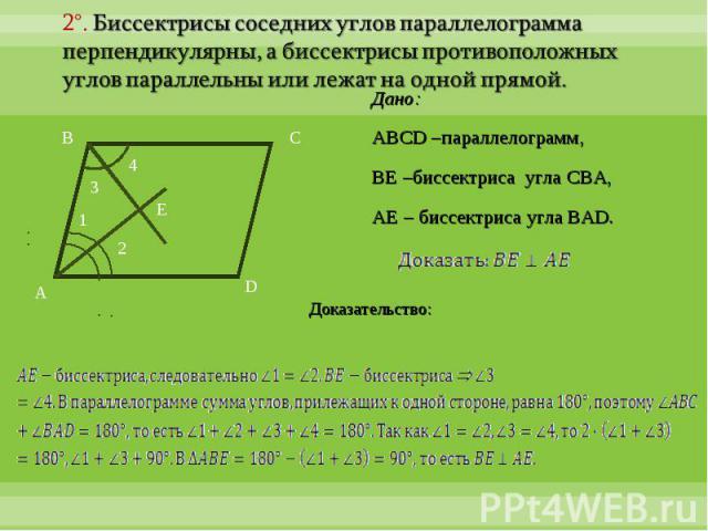 2°. Биссектрисы соседних углов параллелограмма перпендикулярны, а биссектрисы противоположных углов параллельны или лежат на одной прямой.Дано:ABCD –параллелограмм, BE –биссектриса угла CBA,AE – биссектриса угла BAD.Доказательство: