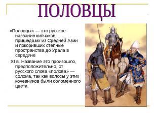 «Половцы» — это русское название кипчаков, пришедших из Средней Азии и покоривши