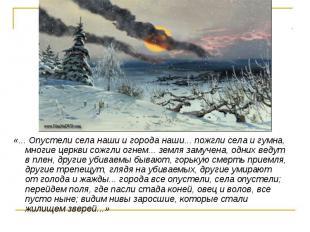 «... Опустели села наши и города наши... пожгли села и гумна, многие церкви сожг
