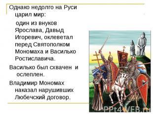 Однако недолго на Руси царил мир: один из внуков Ярослава, Давыд Игоревич, оклев