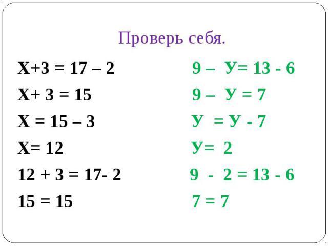 Проверь себя.Х+3 = 17 – 2 9 – У= 13 - 6Х+ 3 = 15 9 – У = 7Х = 15 – 3 У = У - 7 Х= 12 У= 212 + 3 = 17- 2 9 - 2 = 13 - 615 = 15 7 = 7