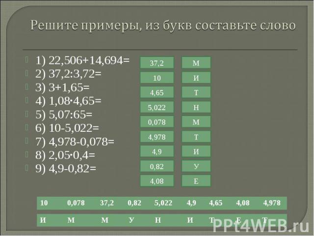 1) 22,506+14,694= 1) 22,506+14,694= 2) 37,2:3,72= 3) 3+1,65= 4) 1,08·4,65= 5) 5,07:65= 6) 10-5,022= 7) 4,978-0,078= 8) 2,05·0,4= 9) 4,9-0,82=