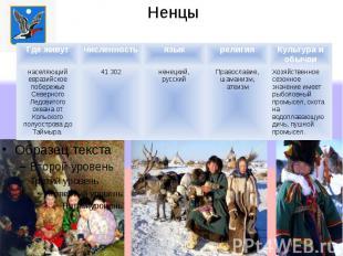 Ненцы Где живутчисленностьязыкрелигияКультура и обычаи населяющий евразийское по