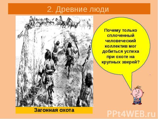 2. Древние люди Загонная охота Почему только сплоченный человеческий коллектив мог добиться успеха при охоте на крупных зверей?