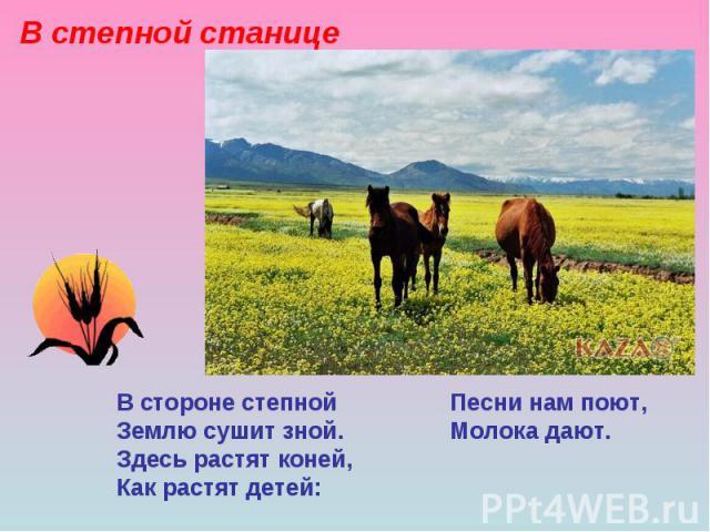 В степной станице В стороне степной Песни нам поют, Землю сушит зной. Молока дают. Здесь растят коней, Как растят детей: