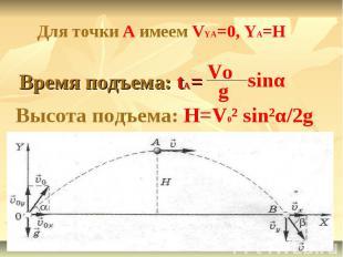 Для точки А имеем VYA=0, YA=HВремя подъема: tA=Высота подъема: H=V0² sin²α