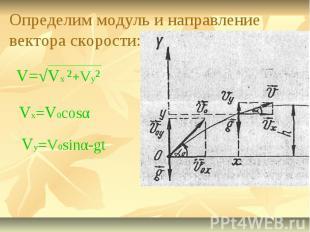 Определим модуль и направление вектора скорости: