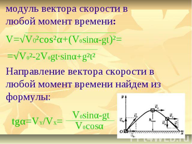 модуль вектора скорости в любой момент времени:Направление вектора скорости в любой момент времени найдем из формулы: