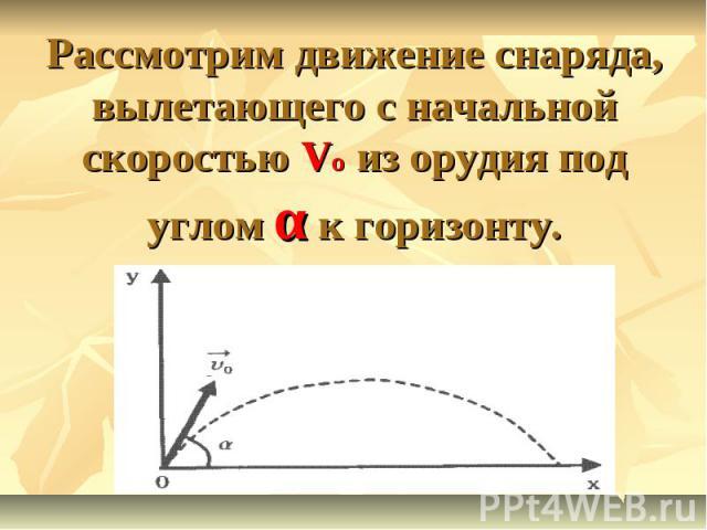 Рассмотрим движение снаряда, вылетающего с начальной скоростью Vo из орудия под углом α к горизонту.