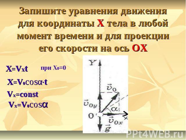 Запишите уравнения движения для координаты X тела в любой момент времени и для проекции его скорости на ось OXX=VxtX=V0cosα·tVx=constVx=V0cosα