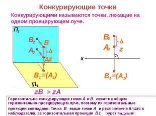Горизонтально конкурирующие точки А и В лежат на общем горизонтально-проецирующе