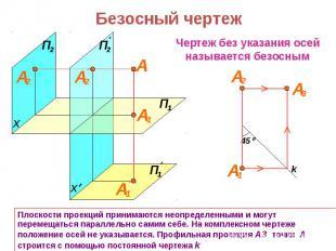 Безосный чертеж Плоскости проекций принимаются неопределенными и могут перемещат
