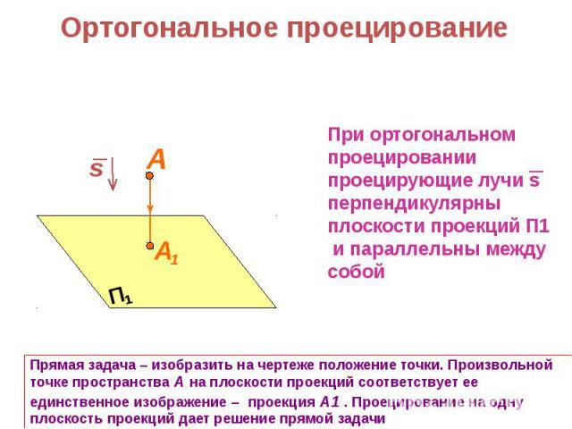 Ортогональное проецированиеПри ортогональном проецировании проецирующие лучи sперпендикулярныплоскости проекций П1 и параллельны между собойПрямая задача – изобразить на чертеже положение точки. Произвольной точке пространства А на плоскости проекци…