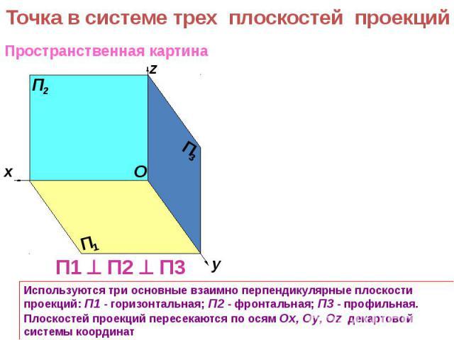 Точка в системе трех плоскостей проекций Используются три основные взаимно перпендикулярные плоскости проекций: П1 - горизонтальная; П2 - фронтальная; П3 - профильная. Плоскостей проекций пересекаются по осям Оx, Оy, Оz декартовой системы координат